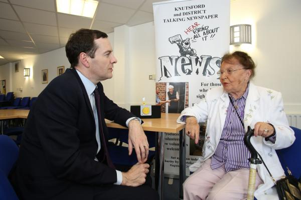 'A great example of the community in action': George Osborne chats to 93-year-old listener Alice Graham about Knutsfprd Talking N