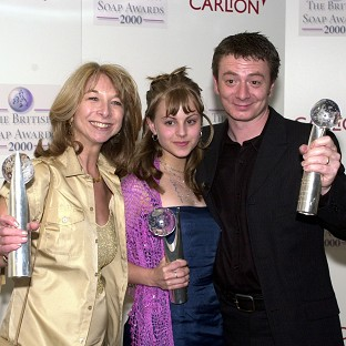 Coronation Street actors (l - r) Helen Worth (Gail Platt), Tina O'Brien (Sarah Louise) and Sean Wilson (Martin Platt) with their 'Best Storyline' Awards, at the British Soap awards 2000 at the BBC TV studios.