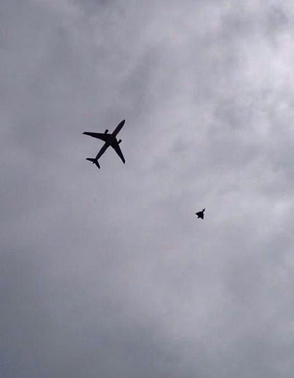 RAF jet escorts passenger plane into Manchester Airport amid reports of 'device on board'