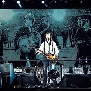 Sir Paul McCartney performing on stage at San Francisco's Candlestick Park