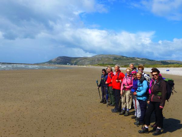 Ramblers on the beach at West shore, Llandudno