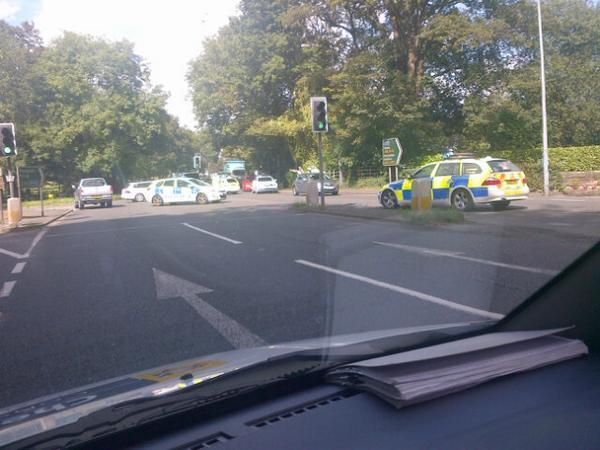 The scene of the accident at 3pm.  Photo courtesy of Knutsford Police