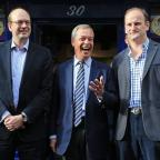 Knutsford Guardian: Ukip leader Nigel Farage, centre, and new Ukip MP Douglas Carswell, right, join candidate Mark Reckless on the campaign trail for the upcoming Rochester and Strood by-election