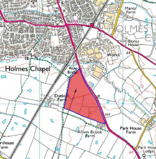 Plans for 190 homes in this site outlined in red have been refused by planners