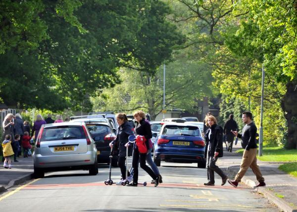 Traffic outside Bexton Primary School