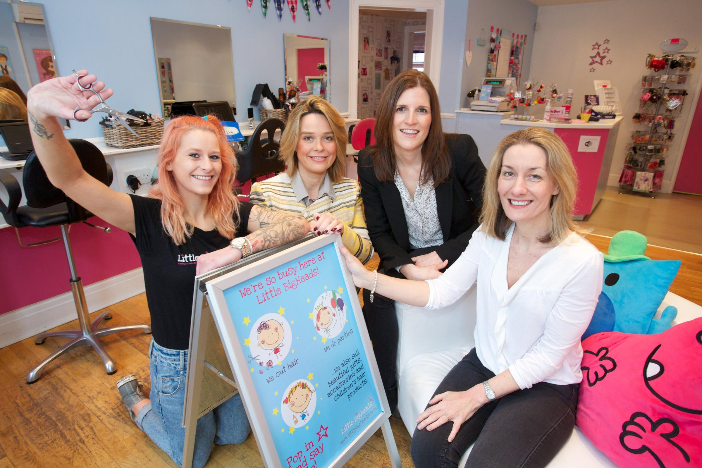 From left, stylist Sarah Voice, Emma Beardsley and Catherine Dickinson, both from Firework PR and Sharon Dobson owner of Little BigHeads.