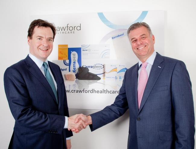 Tatton MP George Osborne with Richard Anderson from Crawford Healthcare
