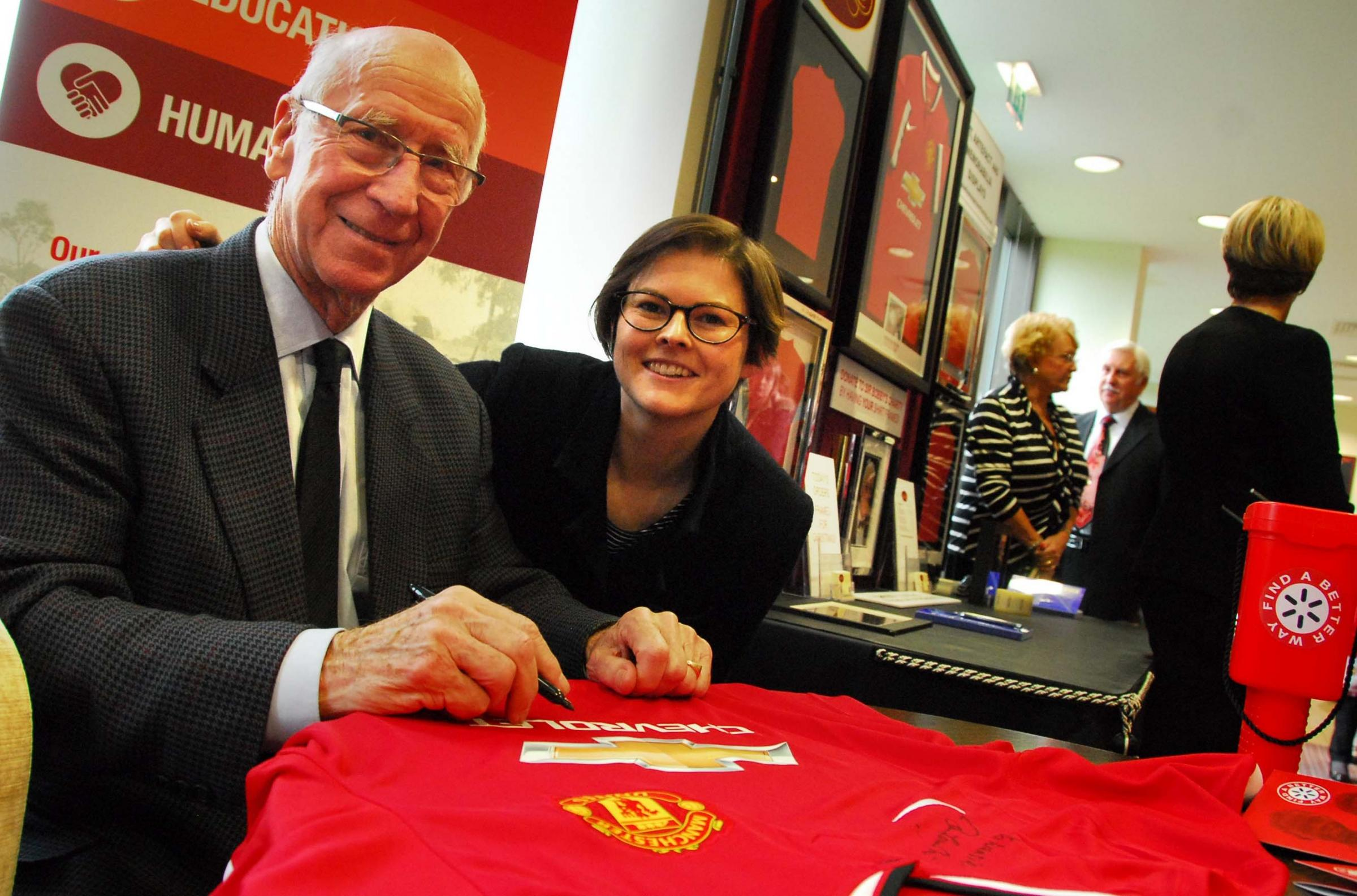 The Sir Bobby Charlton signed shirt event at Booths Park raised £10,000 for charity