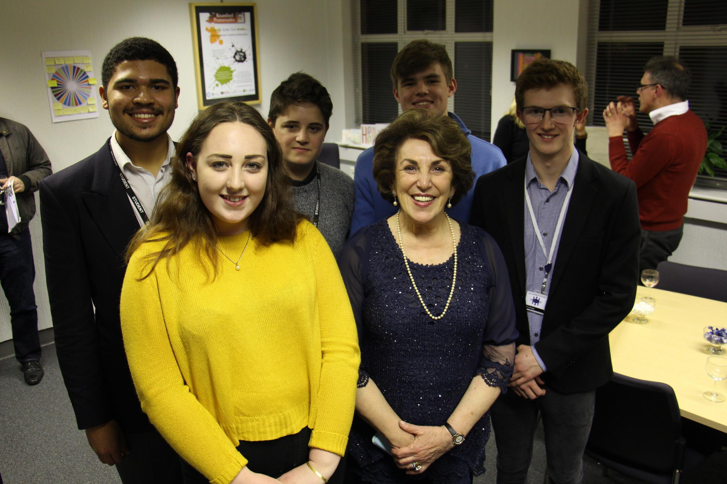 Edwina Currie, former Conservative MP meets  Academy Sixth Form students