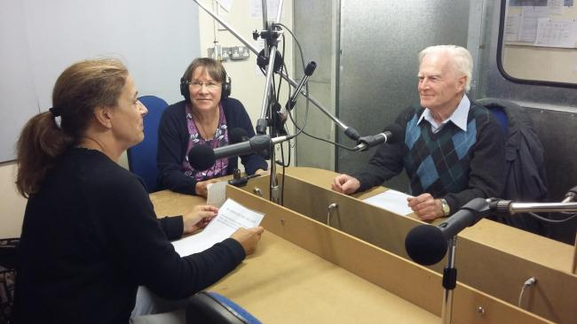 Jan Devery, magazine editor, Lorelly Wilson, secretary of Knutsford Talking Newspaper, and Desmond Mitchell, chairman of Knutsford Talking Newspaper.