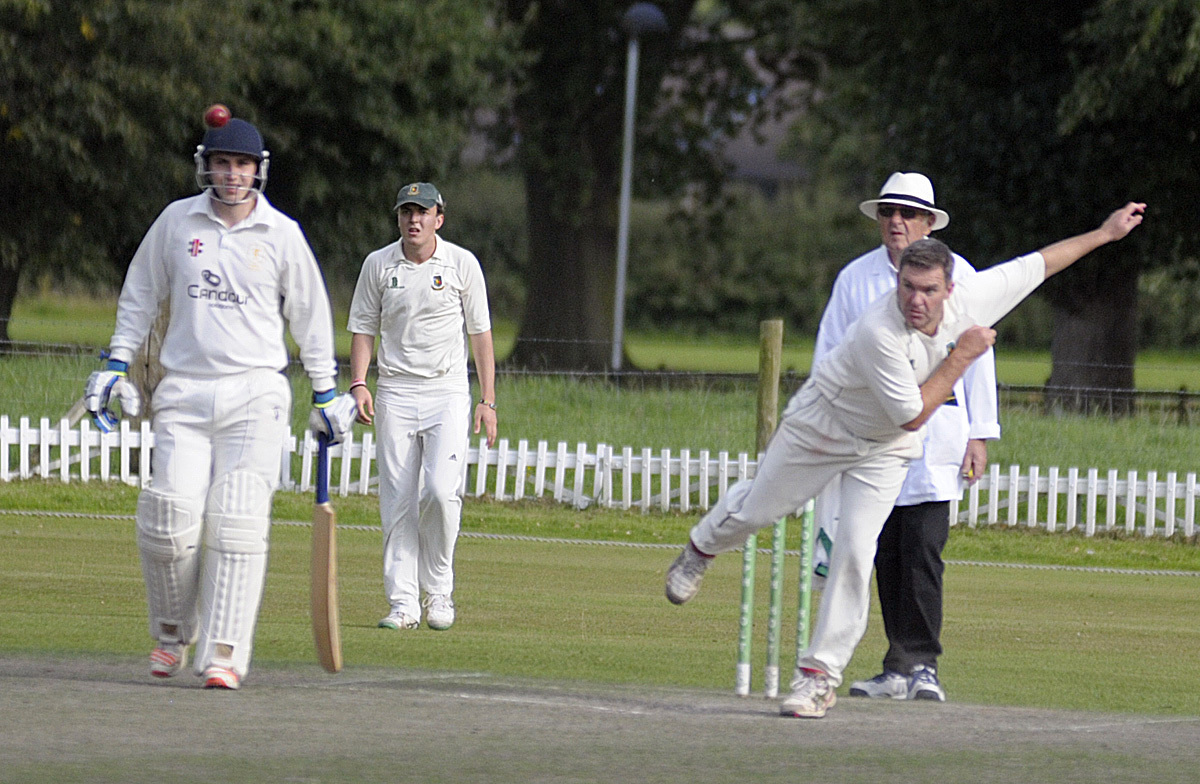Nigel Muirhead bowls for Toft's seconds during a 45-run success against their Timperley counterparts in the Cheshire County League's top-flight on Saturday. Picture: Mike Boden
