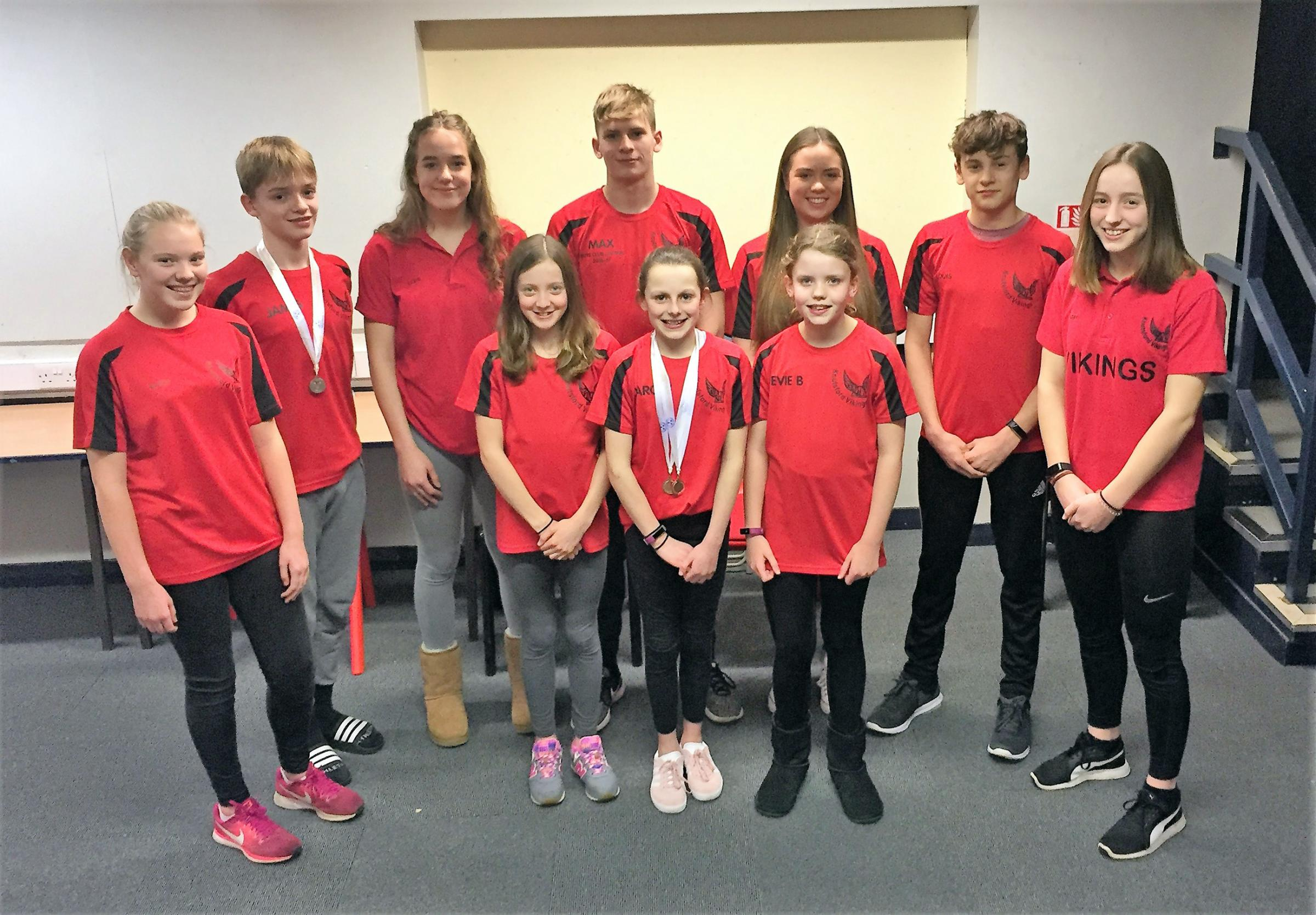 Members of Knutsford Vikings' team for the Cheshire County Championships at Macclesfield, where they won a total of eight medals