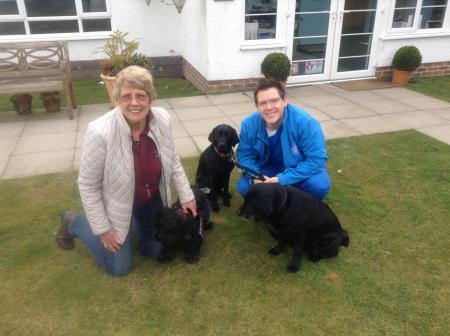 Puppy socialiser Caroline Roeves took hearing dog puppy Connie to meet Paul and thank him for his support for the charity
