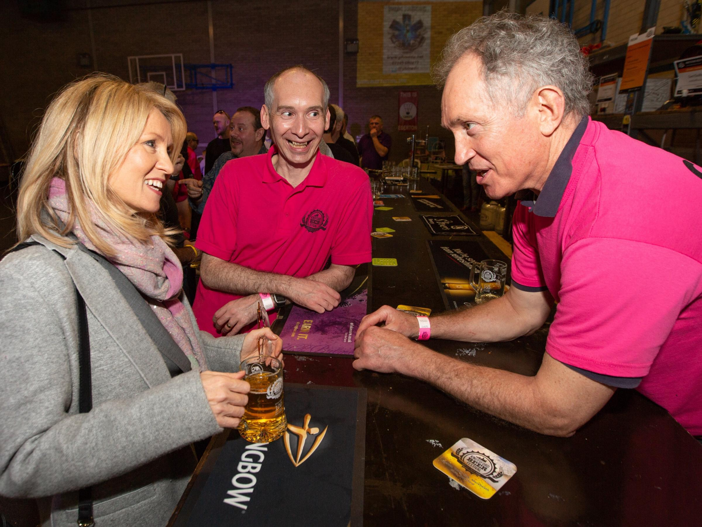 Tatton MP Esther McVey chats with Gregg Sawyer, right, owner and head brewer at Tatton Brewery, and festival chairman Andrew Malloy