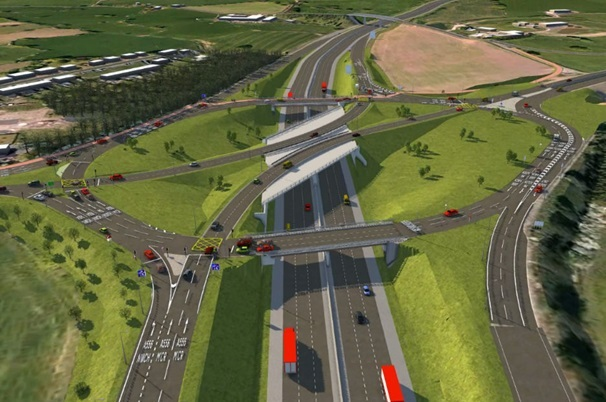 An artist's impression of the proposed new bridge through the roundabout