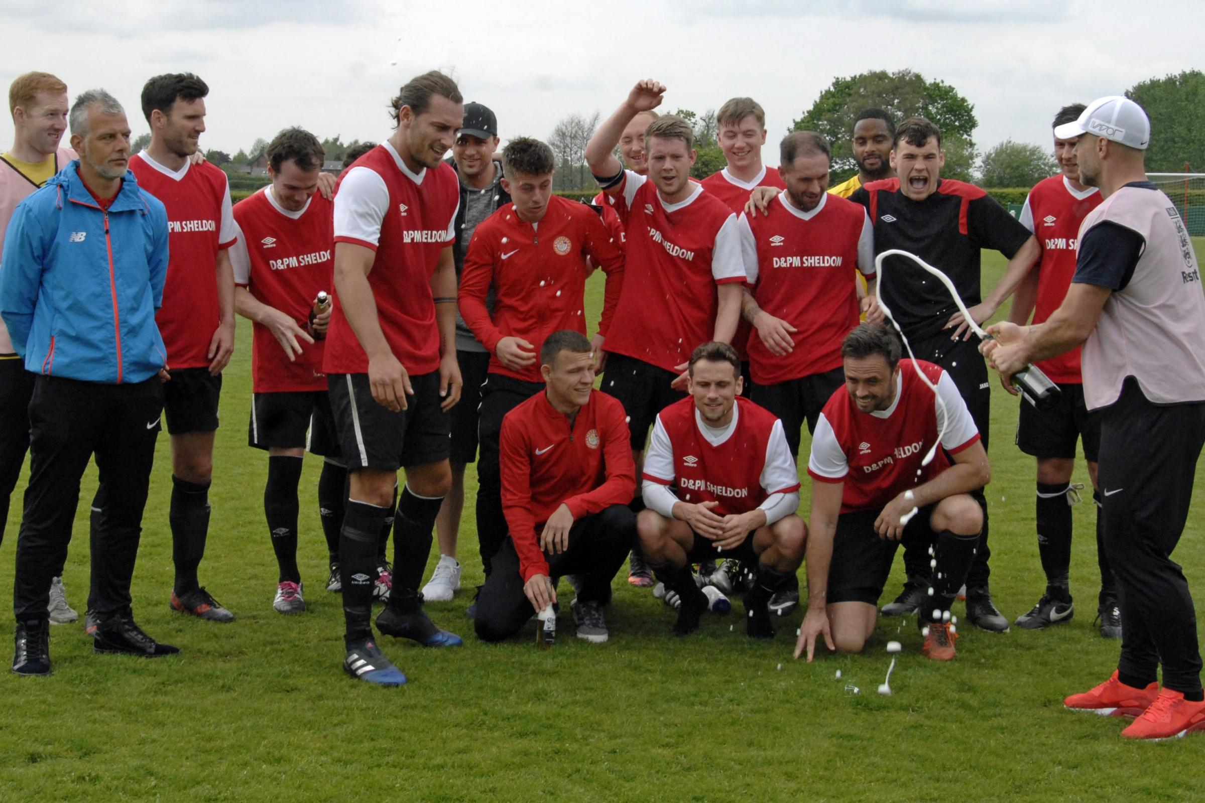 Knutsford FC celebrate clinching their fourth Cheshire League title in seven seasons