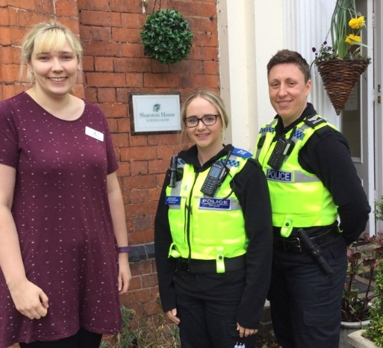 Stacey Hinton, left, with PCSO Courtney Nancollas and Sgt Lynsey Jackson, right