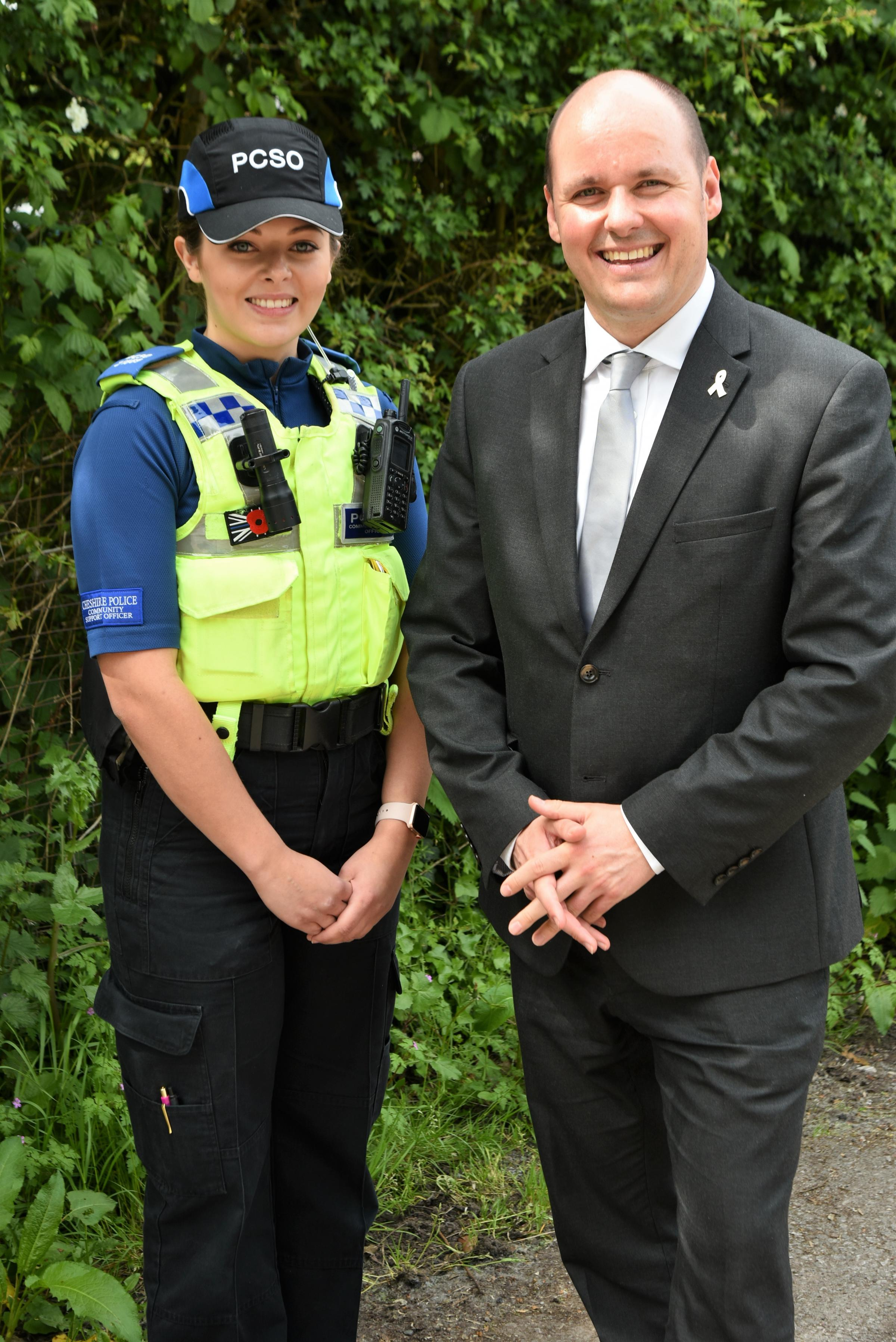 David Keane with PCSO Rebecca Thompson launching the rural crime survey.