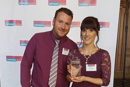 Knutsford Guardian: Rachael King, pictured with husband Ben, receiving the award