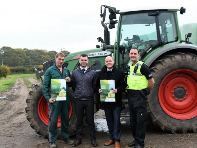 From left, Farmer Antony Millington, Det Insp Adam Alexander, PCC David Keane and Chf Insp Simon Meegan launch Cheshire's rural and wildlife policing strategy on a farm at Rostherne