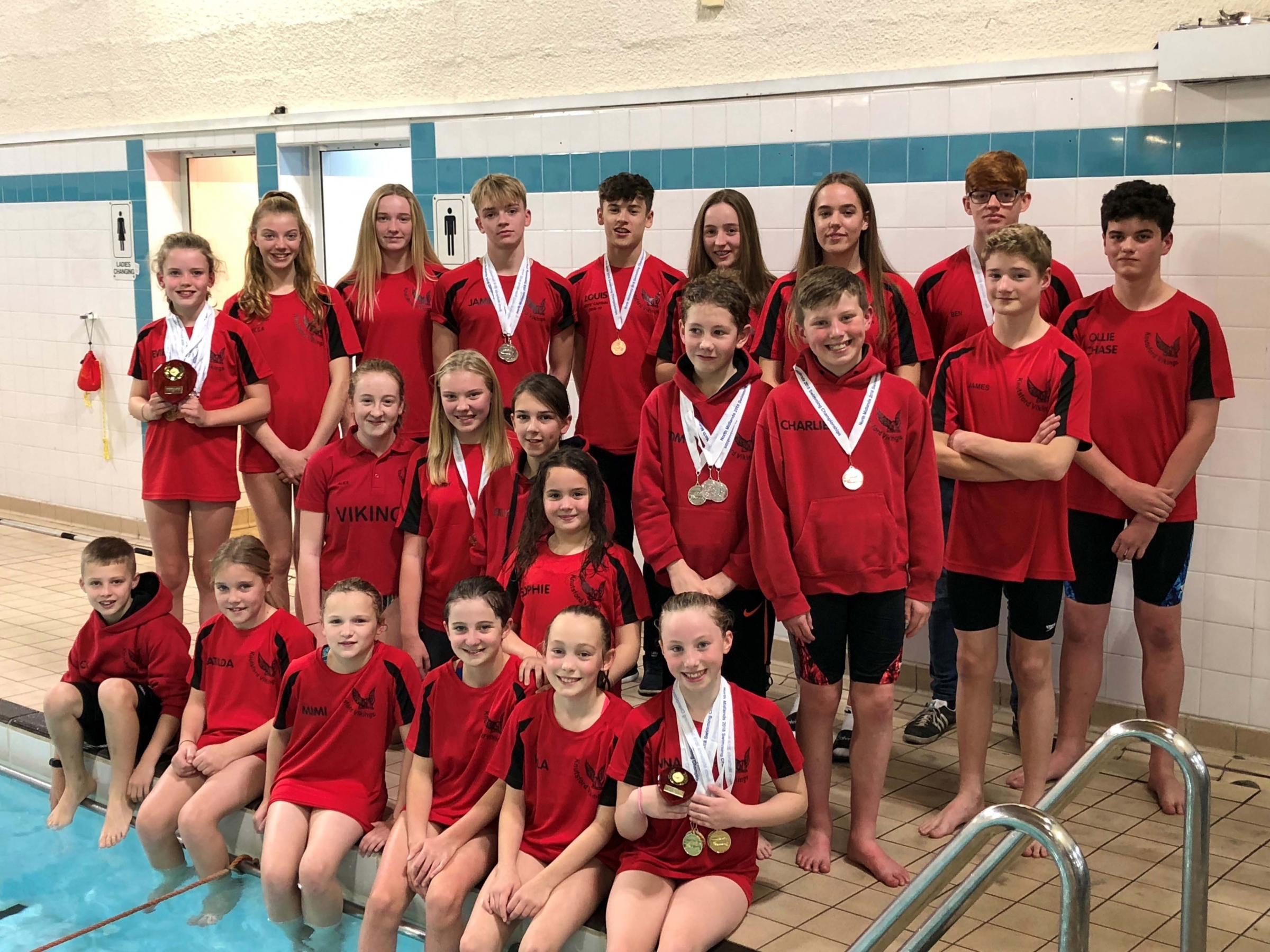 Knutsford Vikings had reason for cheer after collecting a total of 30 medals from races over four days of competition at the North Midlands ASA Championships