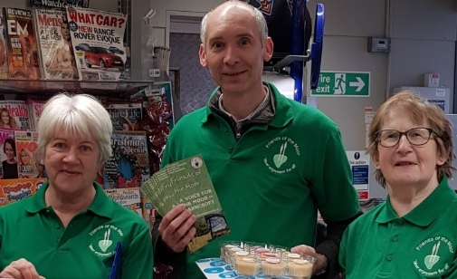 Friends group members Jacquie Grinham, Andrew Malloy and Jan McCappin celebrate the Co-op donation