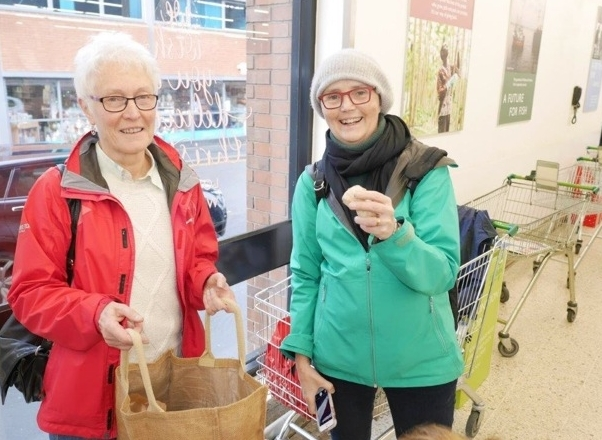 Plastic Free Wilmslow supporters Pat Barker, left, and Pippa Tyrrell at Waitrose on Saturday