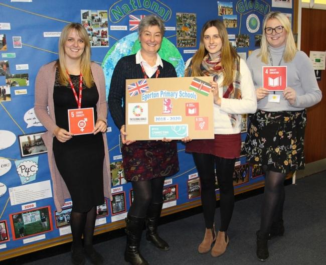 From left, Caroline Padmore, headteacher Alison Hooper, Victoria Eyres from Knutsford Academy, Lauren Appleton