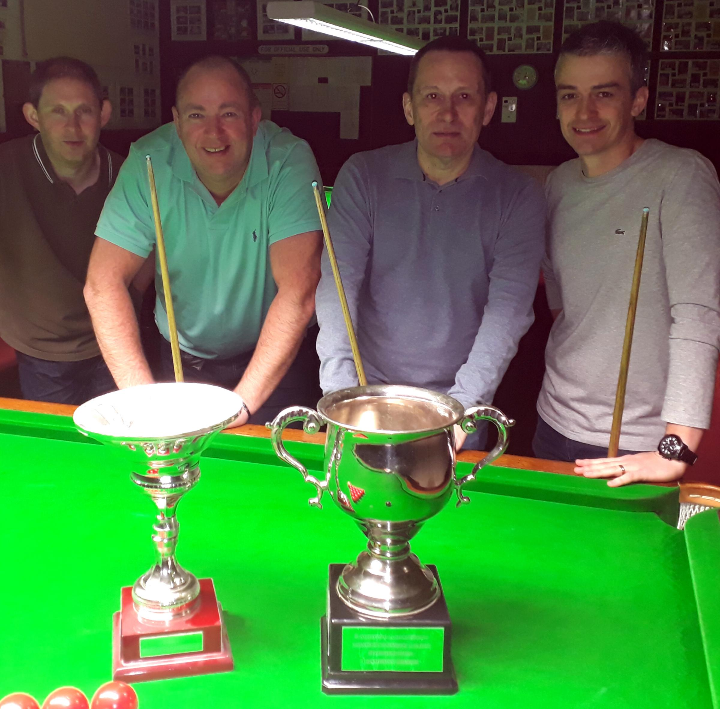 From left, the last four players in this season's Knutsford and District Amateur League's Redwood Hire Champions Trophy, Matt Dale, Mike Roylance, Steve Flinders and victor Mark Newall