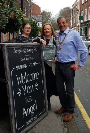 From left, Sabrina Delphan, manager at The Angel, with Knutsford Mayoress Ann Coan and Mayor Cllr Peter Coan