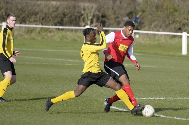 Nathan Okome, right, and his Knutsford teammates have adjusted to playing in the Cheshire League's Premier Division according to co-manager Jamie Mottershead. Picture: Mike Boden