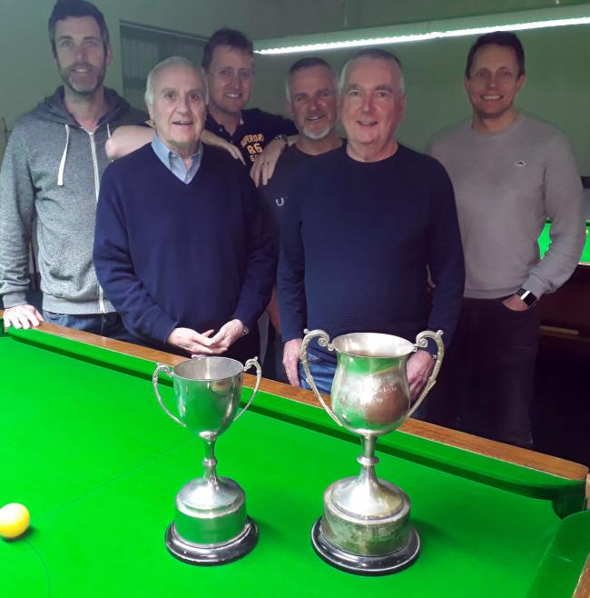 From left, Tatton's Dave Blackburn, Drew McAra, Ian Snelson, Nick Walton, Rob Clark and David Taylor before their Knutsford and District Amateur Snooker League Team Knockout Cup encounter with holders Mobberley A last week