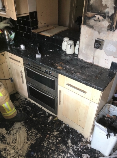 The fire-damaged kitchen. Picture from Cheshire Fire and Rescue Service