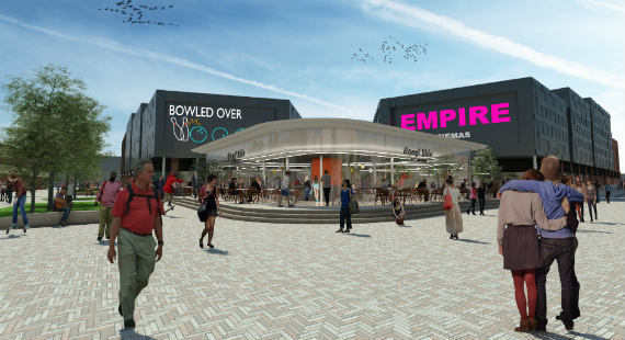 An artist's impression of how the redevelopment of Crewe town centre could look