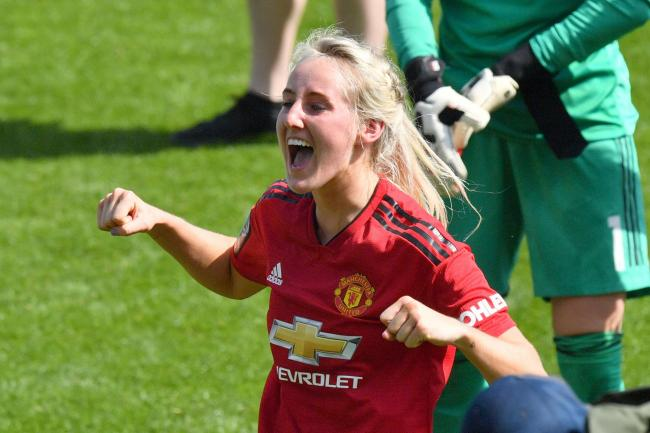 Millie Turner celebrates after Manchester United Women secure promotion with a 5-0 win against Aston Villa.                                             Picture: Anthony Devlin/PA Wire