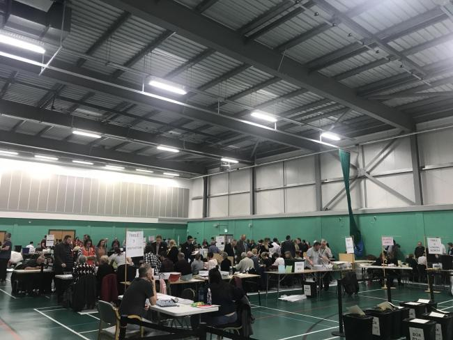 Counting is under way at Crewe Lifestyle Centre