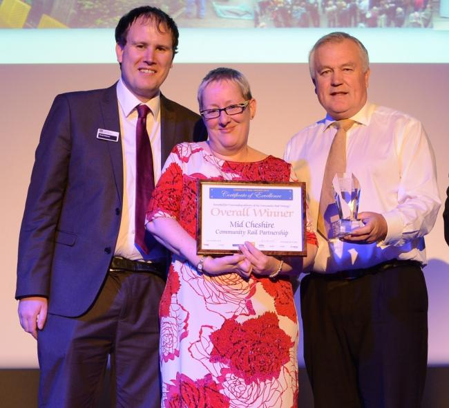 Sally Buttifant collecting the award for best Community Rail Partnership in the country in 2015